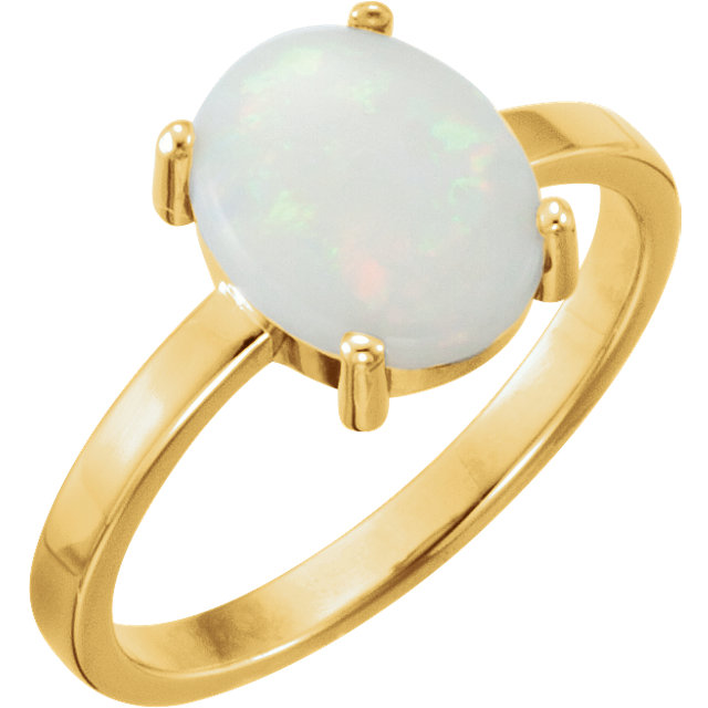 14 Karat Yellow Gold 10x8mm Oval Opal Cabochon Ring