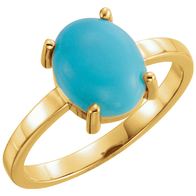 Gorgeous 14 Karat Yellow Gold 10x8mm Oval Turquoise Cabochon Ring