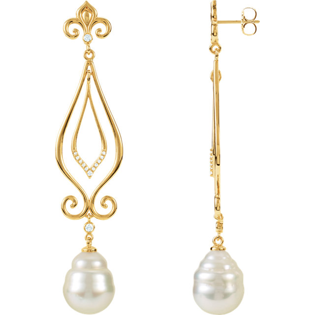 14KT Yellow Gold 11mm South Sea Cultured Pearl & 1/6 Carat Total Weight Diamond Earrings