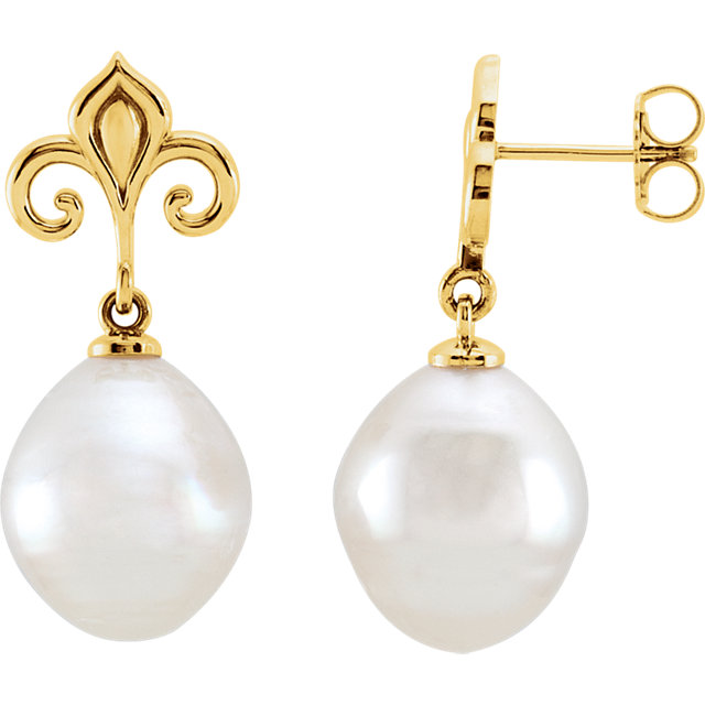 14 KT Yellow Gold 11mm South Sea Cultured Pearl Earrings