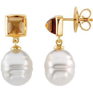 14KT Yellow Gold 12mm South Sea Cultured Pearl & 6mm Citirine Earrings