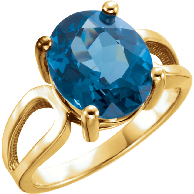 Enchanting 14 Karat Yellow Gold 12x10mm Oval Genuine London Blue Topaz Ring