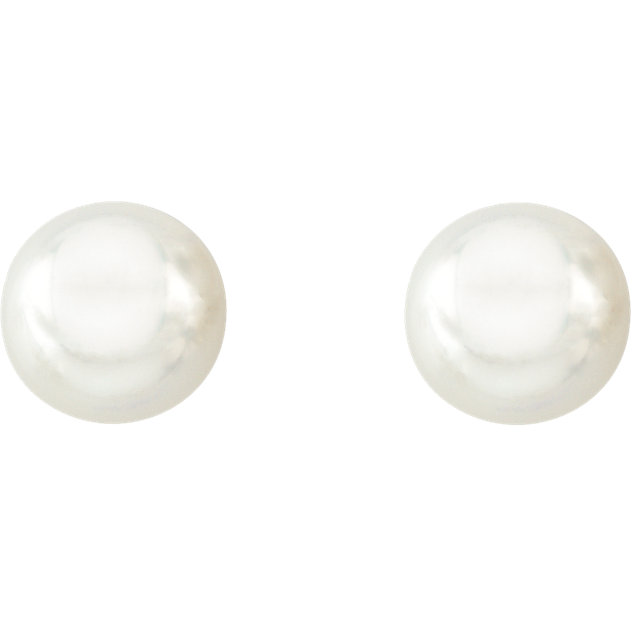 14KT Yellow Gold 14mm Full Button South Sea Cultured Fashion Pearl Earrings