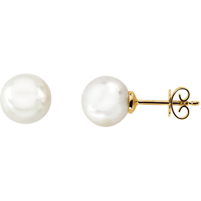 14 KT Yellow Gold 14mm Full Button South Sea Cultured Fashion Pearl Earrings