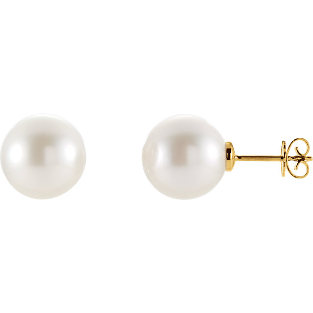 14 KT Yellow Gold 14mm Round South Sea Pearl Earrings