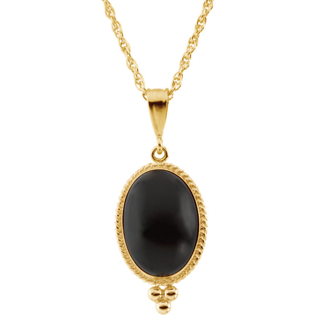 Great Deal in 14 Karat Yellow Gold 14x10 Oval Cabochon Onyx 18