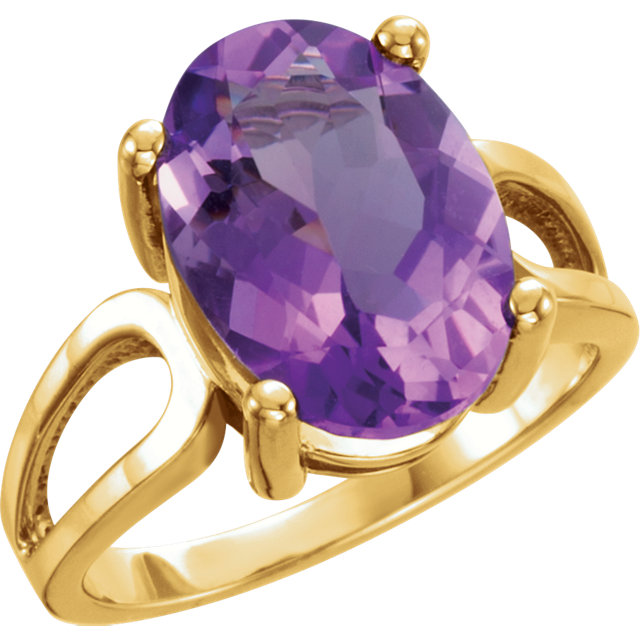 Contemporary 14 Karat Yellow Gold 14x10mm Oval Amethyst Ring