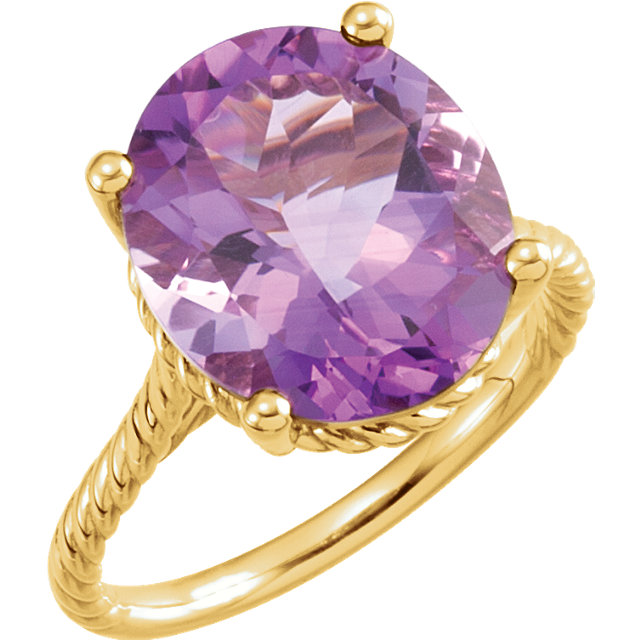 Easy Gift in 14 Karat Yellow Gold 14x12mm Amethyst Rope Ring