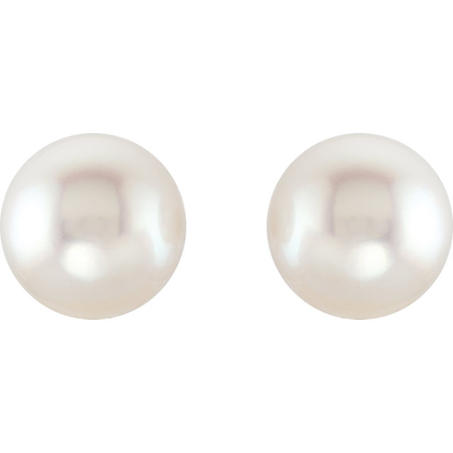 14KT Yellow Gold 15mm Near Round Fine South Sea Pearl Earrings