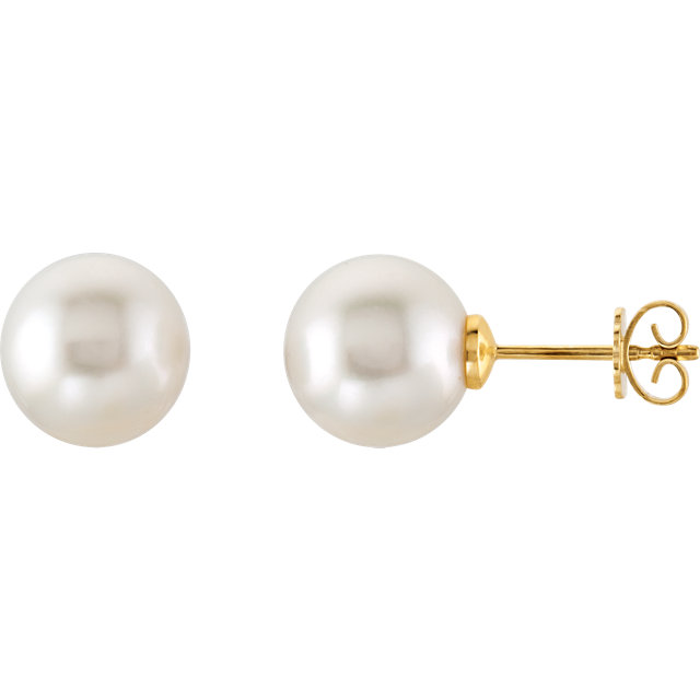 14 KT Yellow Gold 15mm South Sea Cultured Pearl Earrings