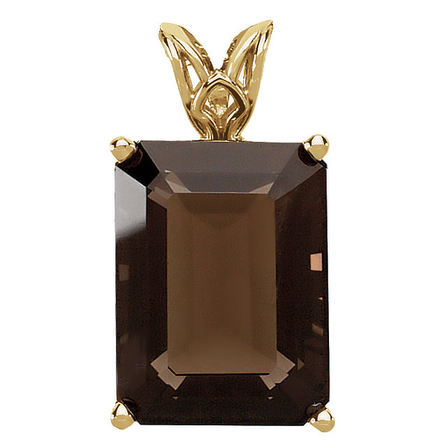 Terrific 14 Karat Yellow Gold 16x12 Emerald Genuine Smoky Quartz Scroll Setting Pendant