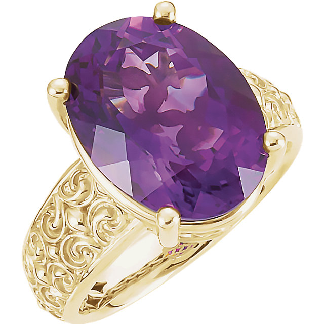 Genuine  14 KT Yellow Gold 16x12mm Amethyst Sculptural-Inspired Ring
