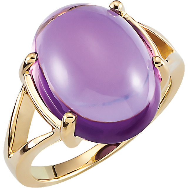 Genuine 14 KT Yellow Gold 16x12mm Cabochon Amethyst Ring