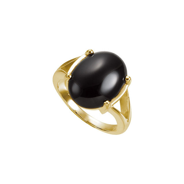 Eye Catchy 14 Karat Yellow Gold 16x12mm Oval Onyx Cabochon Ring