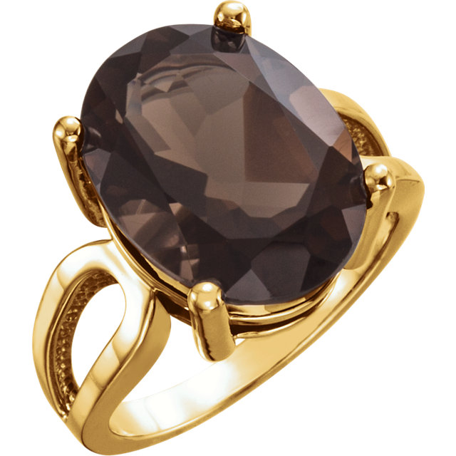 Beautiful 14 Karat Yellow Gold 16x12mm Oval Smoky Quartz Ring