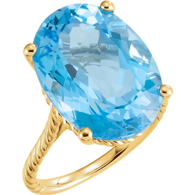 Lovely 14 Karat Yellow Gold 18x13mm Oval Genuine Swiss Blue Topaz Rope Ring
