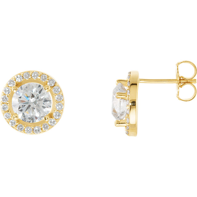 Chic 14 Karat Yellow Gold 2 0.50 Carat Total Weight Diamond Halo-Style Earrings