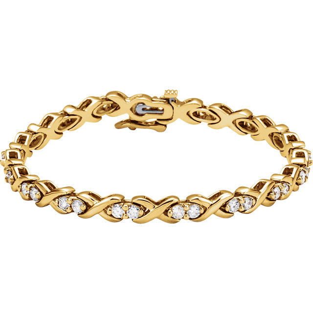 Chic 14 Karat Yellow Gold 2 3/8 Carat Total Weight Round Genuine Diamond Line Bracelet