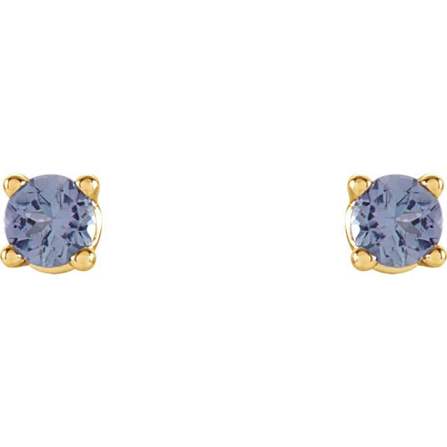 14KT Yellow Gold 2.5mm Round Blue Tanzanite Earrings