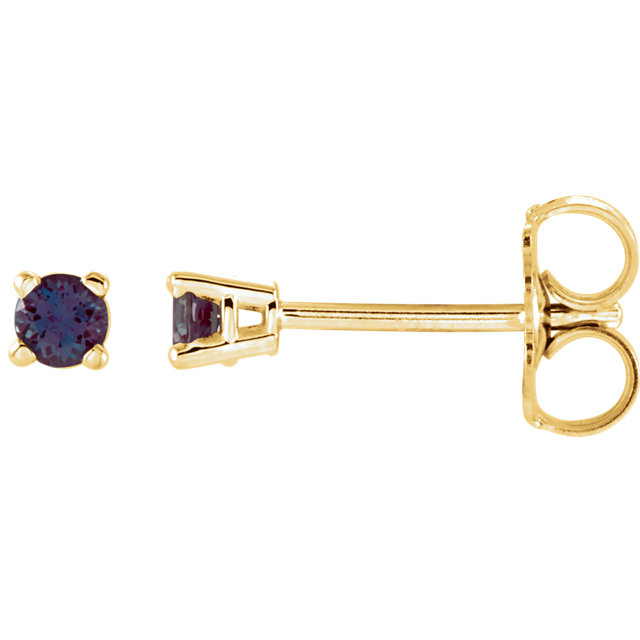 Low Price on Quality 14 KT Yellow Gold 2.5mm Round Genuine Chatham Created Created Alexandrite Earrings