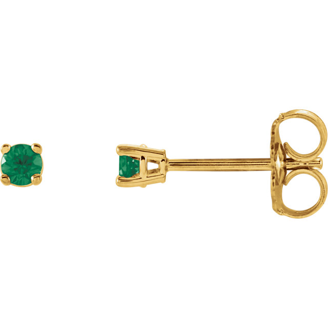 Chic 14 Karat Yellow Gold 2.5mm Round Emerald Earrings