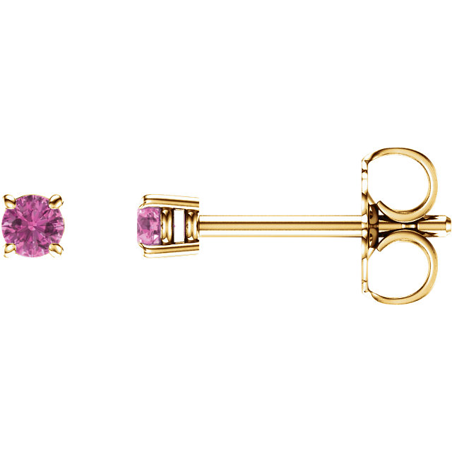 Genuine 14 KT Yellow Gold 2.5mm Round Pink Sapphire Earrings
