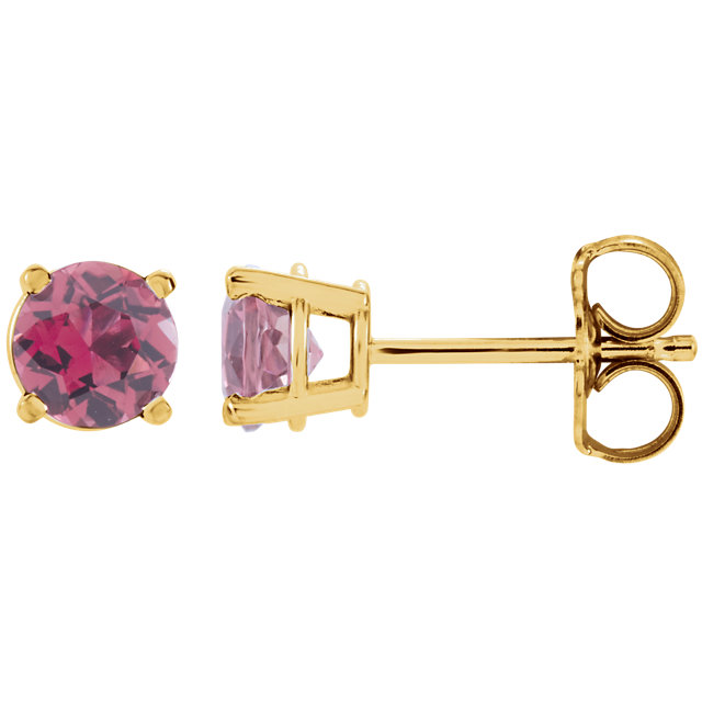 Great Deal in 14 Karat Yellow Gold 2.5mm Round Pink Tourmaline Earrings