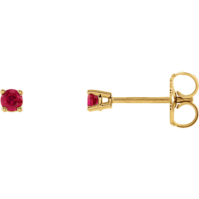 Contemporary 14 Karat Yellow Gold 2.5mm Round Ruby Earrings