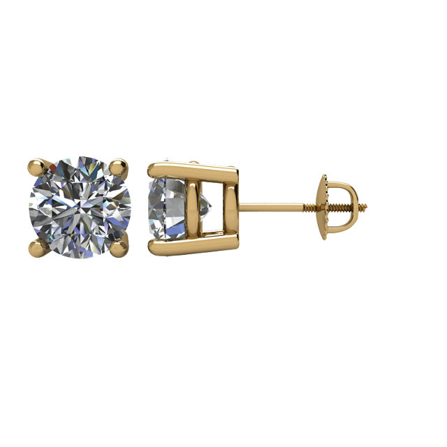 Easy Gift in 14 Karat Yellow Gold 2 Carat Total Weight Diamond Earrings
