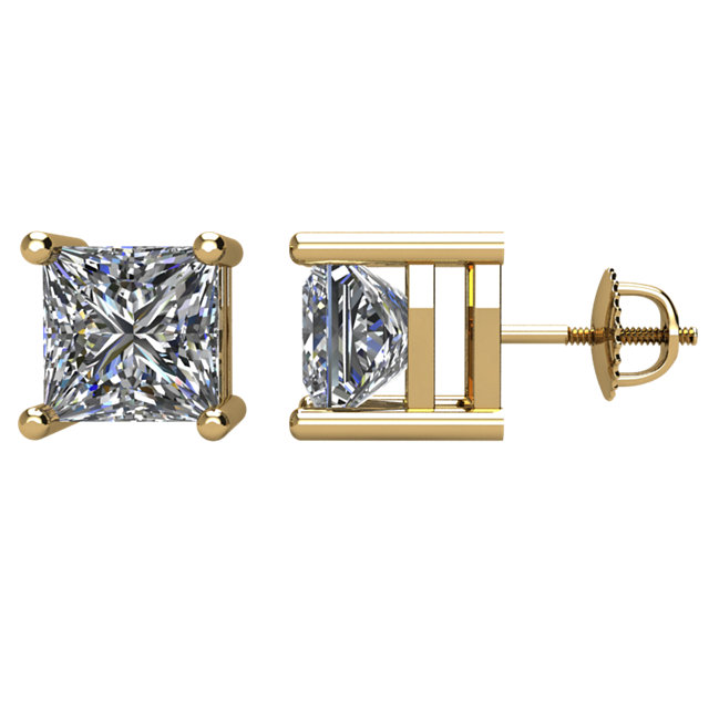 Great Buy in 14 Karat Yellow Gold 2 Carat Total Weight Diamond Earrings