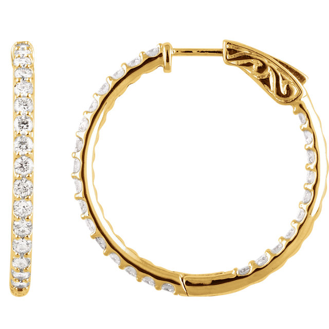 Appealing Jewelry in 14 Karat Yellow Gold 2 Carat Total Weight Diamond Inside/Outside Hoop Earrings