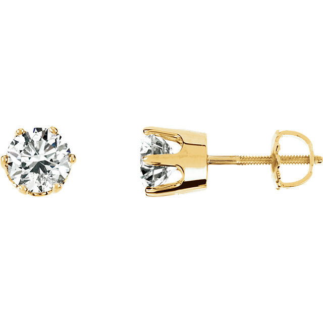 Beautiful 14 Karat Yellow Gold 2 Carat Total Weight Diamond Threaded Post Stud Earrings