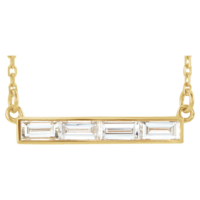 14 Karat Yellow Gold 0.75 Carat Diamond Bar 17