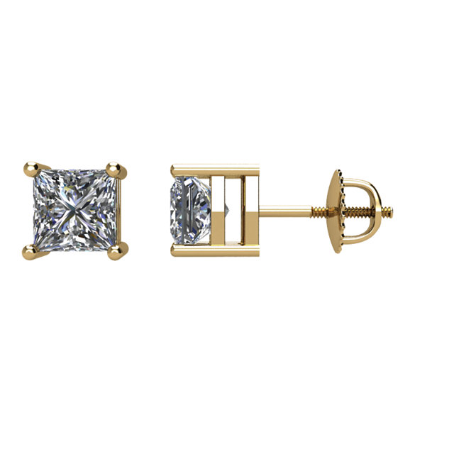 Graceful 14 Karat Yellow Gold 3/4 Carat Total Weight Diamond Earrings
