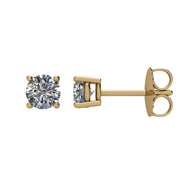 Gorgeous 14 Karat Yellow Gold 0.75 Carat Total Weight Diamond Earrings
