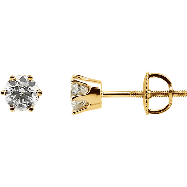 Very Nice 14 Karat Yellow Gold 0.75 Carat Total Weight Diamond Threaded Post Stud Earrings