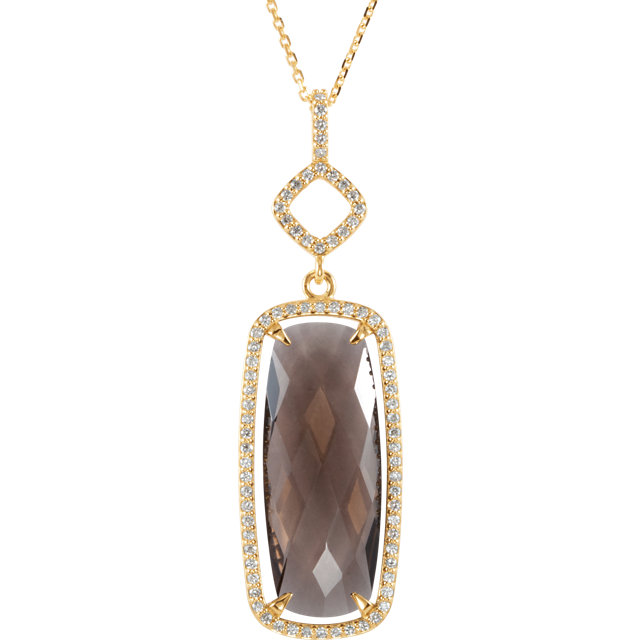 Great Deal in 14 Karat Yellow Gold Smoky Quartz & 0.40 Carat Total Weight Diamond Halo-Style 18