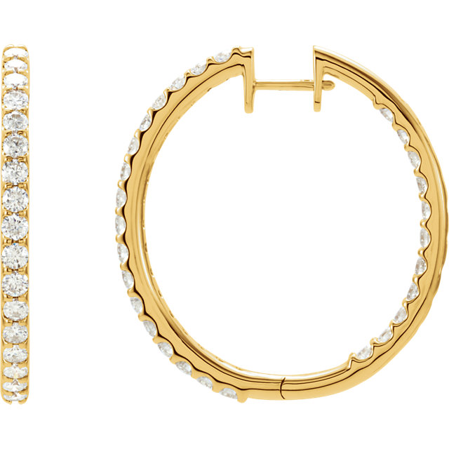 Easy Gift in 14 Karat Yellow Gold 3 Carat Total Weight Diamond Hinged Inside-Outside Hoop Earrings