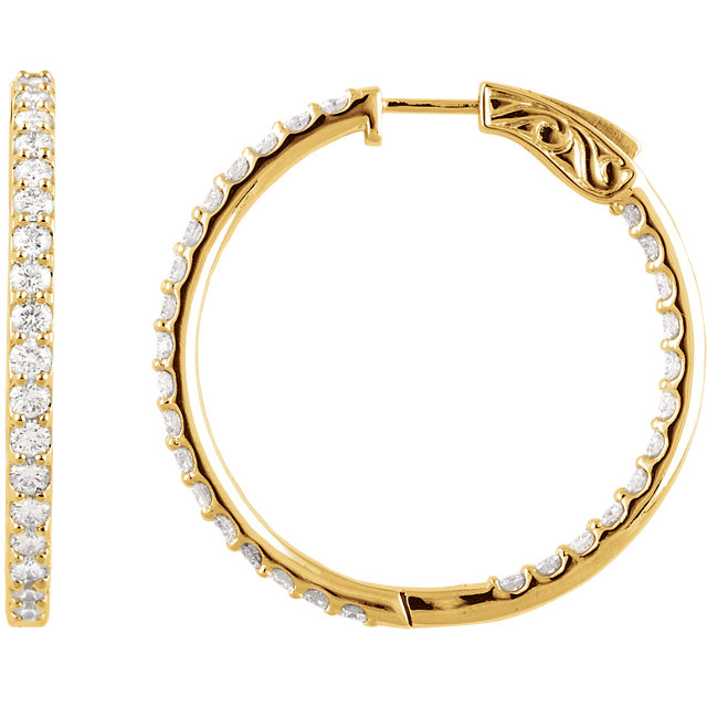 Great Buy in 14 Karat Yellow Gold 3 Carat Total Weight Diamond Inside/Outside Hoop Earrings