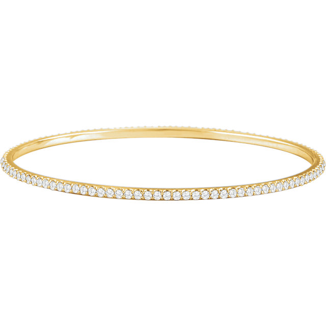 Exquisite 14 Karat Yellow Gold 3 Carat Total Weight Round Genuine Diamond Stackable Bangle Bracelet
