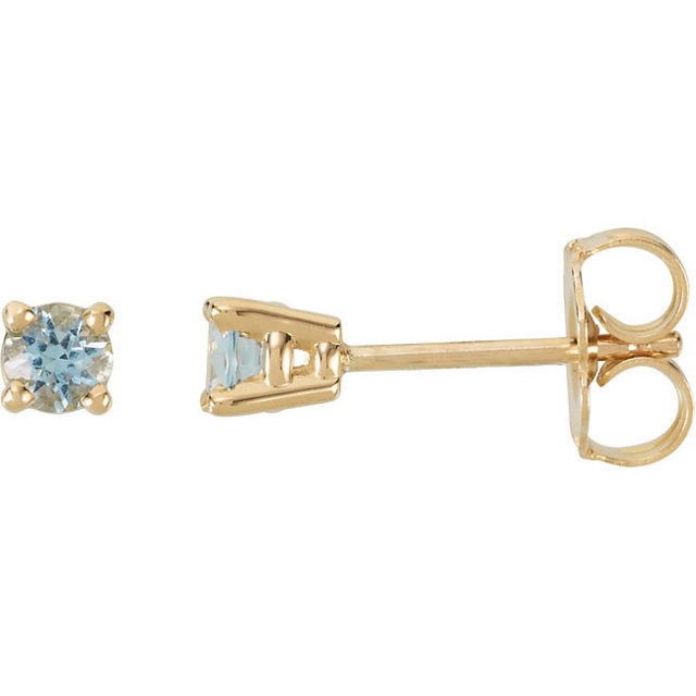 Gorgeous 14 Karat Yellow Gold 3mm Round Aquamarine FriCaration Post Stud Earrings