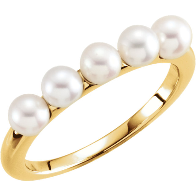 Genuine 14 KT Yellow Gold 4-4.5mm Five-Stone Pearl Ring