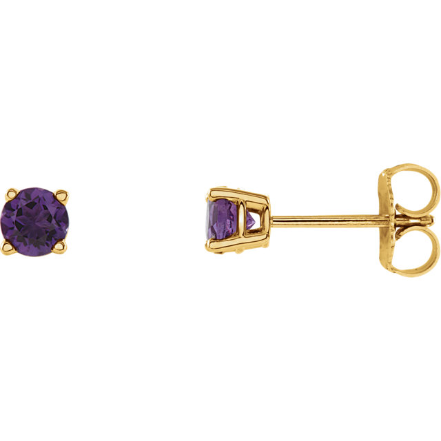 14 KT Yellow Gold 4mm Round Amethyst Earrings