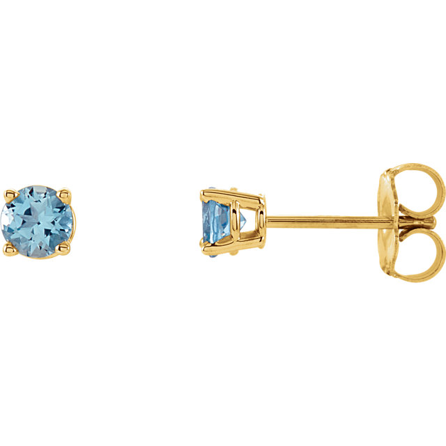 Eye Catchy 14 Karat Yellow Gold 4mm Round Aquamarine Earrings