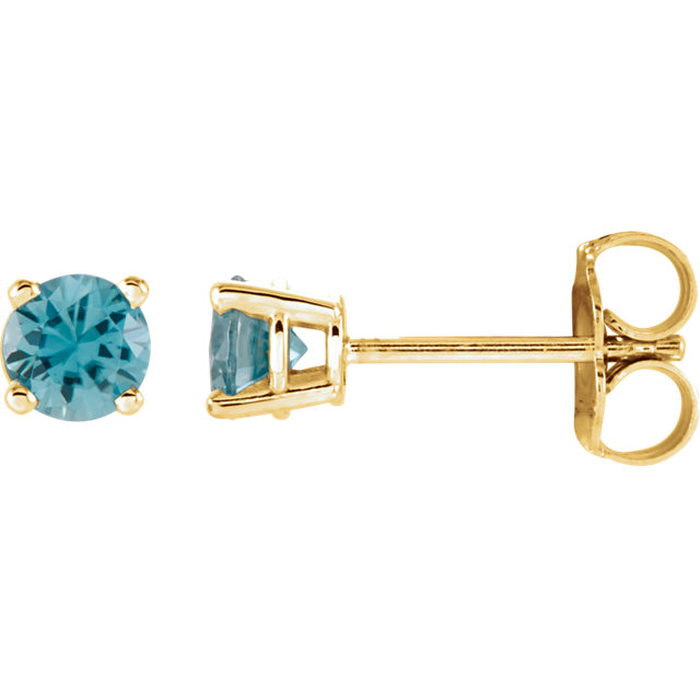 Great Gift in 14 Karat Yellow Gold 4mm Round Blue Zircon Earrings