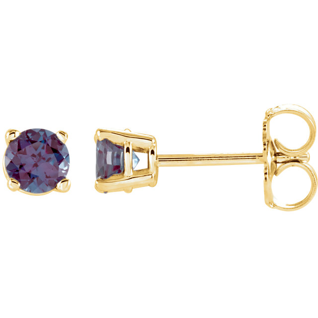 14 Karat Yellow Gold 4mm Round Genuine Chatham Alexandrite Earrings