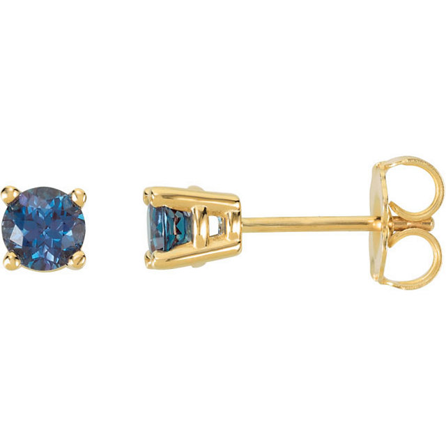 Appealing Jewelry in 14 Karat Yellow Gold 4mm Round Genuine Chatham Created Created Alexandrite FriCaration Post Stud Earrings