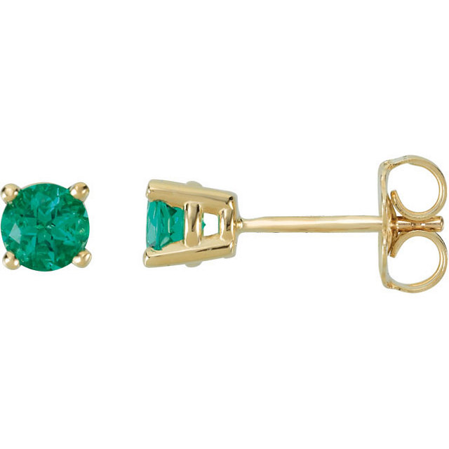 Beautiful 14 Karat Yellow Gold 4mm Round Genuine Chatham Created Created Emerald FriCaration Post Stud Earrings