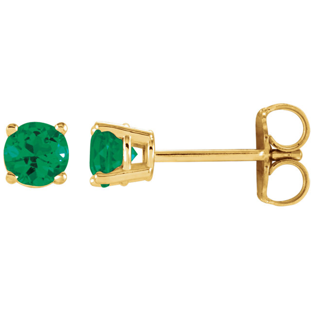 Chic 14 Karat Yellow Gold 4mm Round Emerald Earrings