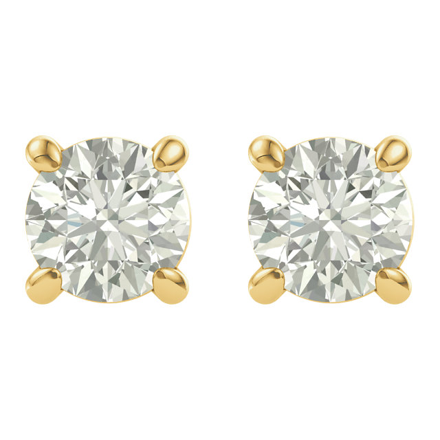 14KT Yellow Gold 4mm Round Forever Classic Moissanite  Earrings